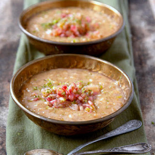 Sweet Brown Rice Pudding with Rhubarb-Ginger Compote.