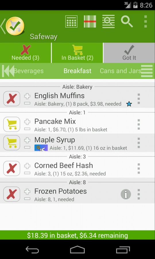 Grocery List - rShopping - screenshot
