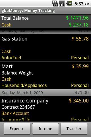 gbaMoney Money Tracking- screenshot