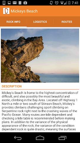 Screenshots for climbOn SF Area Climbing App