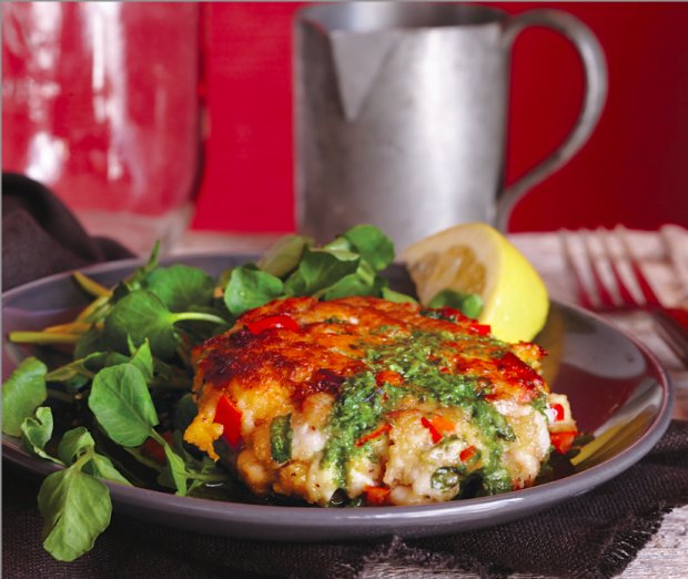 Trout Cakes with Basil Vinaigrette Recipe