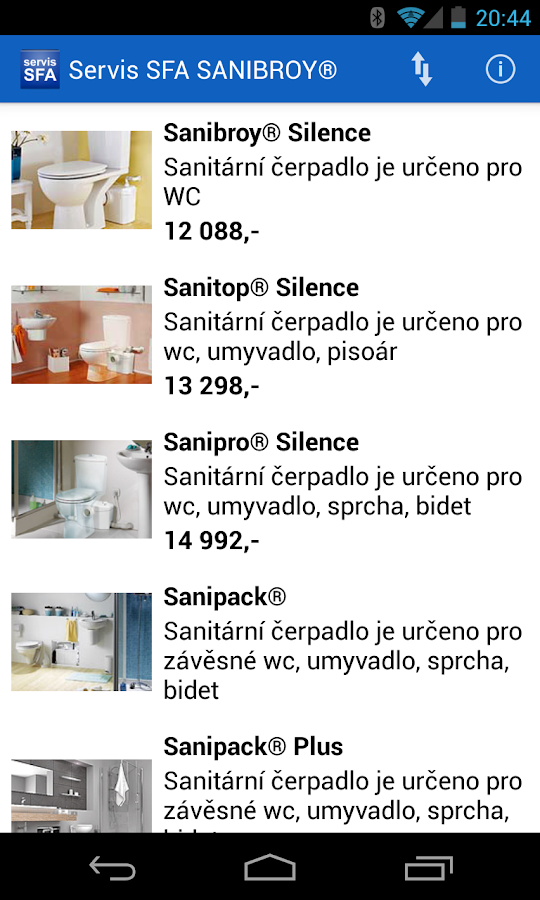 Servis SFA SANIBROY®- screenshot