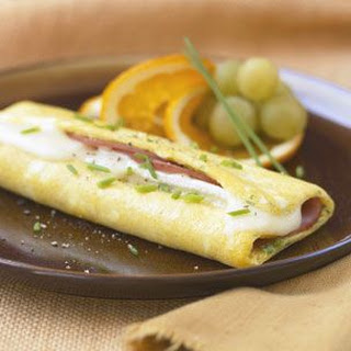 Rolled Ham and Brie Omelette.