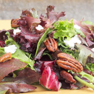 Mesclun Salad with Goat Cheese, Maple-Glazed Pecans & Maple Dijon Vinaigrette