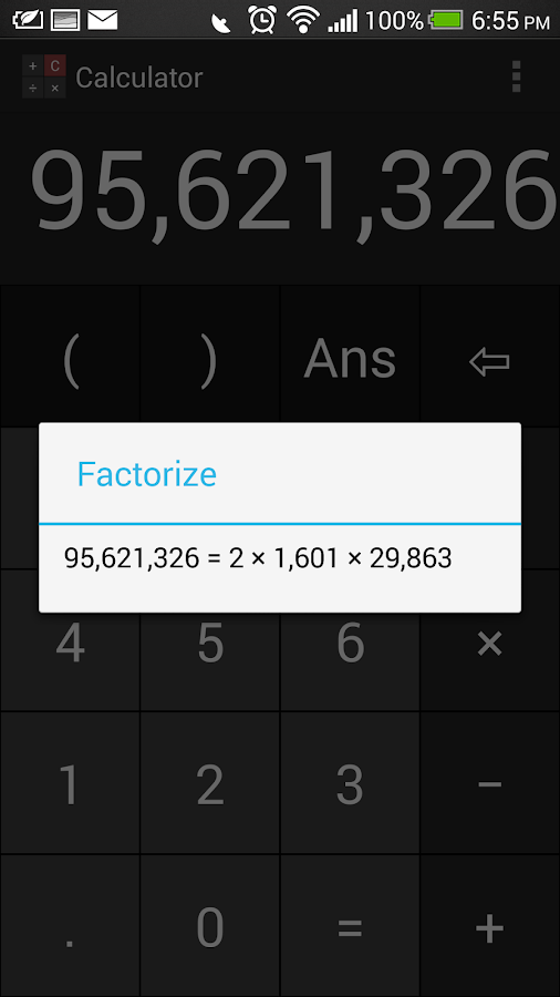 Free Calculator (Prime Factor) - screenshot