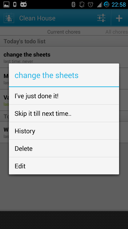 Clean House - chores schedule- screenshot