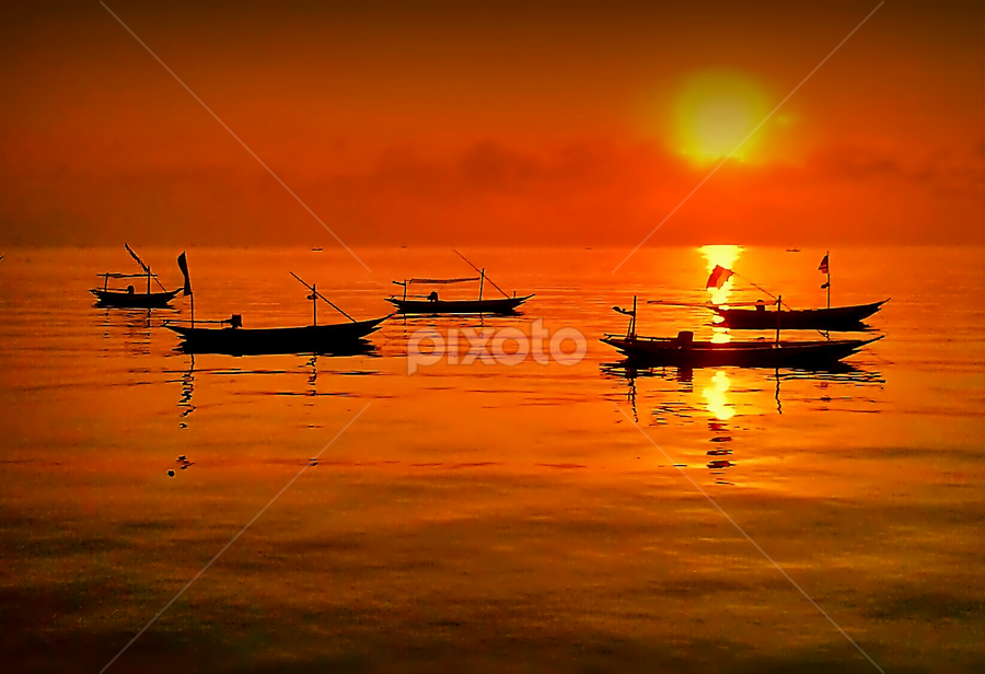 boat by Herry . - Instagram & Mobile Android ( Beach, sunset, blue, water, ocean.  )