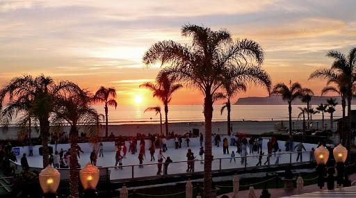 San-Diego-Coronado-skating - Holiday Ice Skating Rink at the Hotel Del Coronado near San Diego.