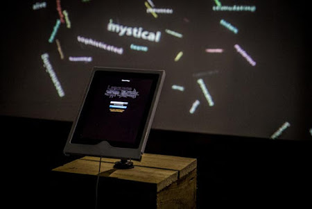 """<p> <a href=""""http://www.jamiegriffiths.com/ecocentrix/""""><strong>EcoCentrix </strong></a>Interactive smartphone WordMap Installation by Primal Orb (Rob Scharein/Jamie Griffiths)</p> <p> <em>BargeHouse, SouthBank, London, Oct 2013</em></p>"""