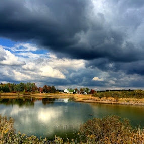 Across the way by Aaron Campbell - Instagram & Mobile iPhone ( clouds, water, sky, autumn, iphone5s, reflections, pennsylvania, pond, rural )