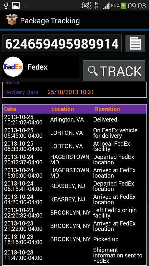 International Parcel Tracker - screenshot