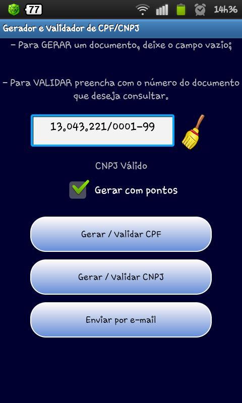 Gerar e Validar CNPJ / CPF- screenshot