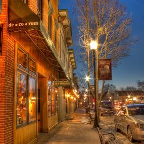 Center Street Grayslake by Steve Weston - City,  Street & Park  Vistas ( bench, shops, street, night, town )