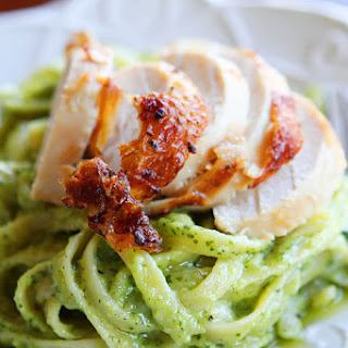 Pasta with Pesto Cream Sauce.