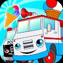 Crazy ice cream truck driver icon