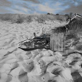 Biker Blues by Tanya Washburn - Transportation Bicycles ( sand, sky, blue, beach, bicycle )