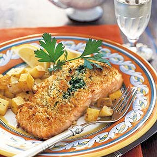 Baked Salmon Stuffed with Mascarpone Spinach.