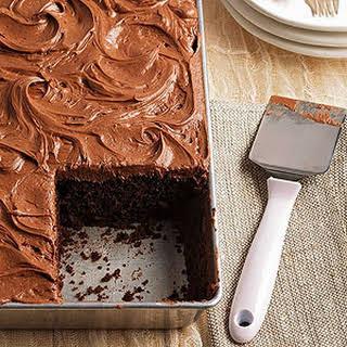 Dark Cocoa Buttermilk Cake with Cocoa Mascarpone Frosting.
