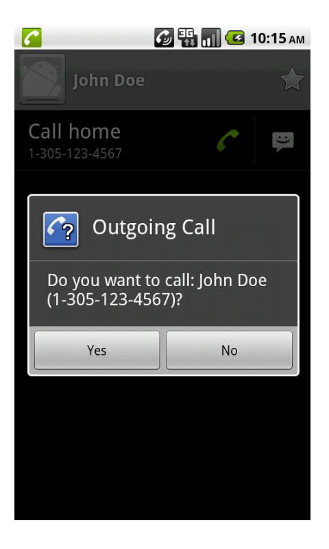 Outgoing Call Confirm Donate - screenshot