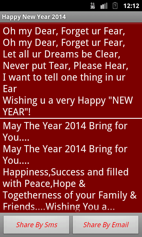 Happy New Year 2014  Messages - screenshot