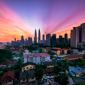 Another Blissful Sunrise in Kuala Lumpur by Nur Ismail Mohammed - City,  Street & Park  Skylines ( kampung baru, kl tower, klcc, colourful, single exposure, sunrise, kuala lumpur )