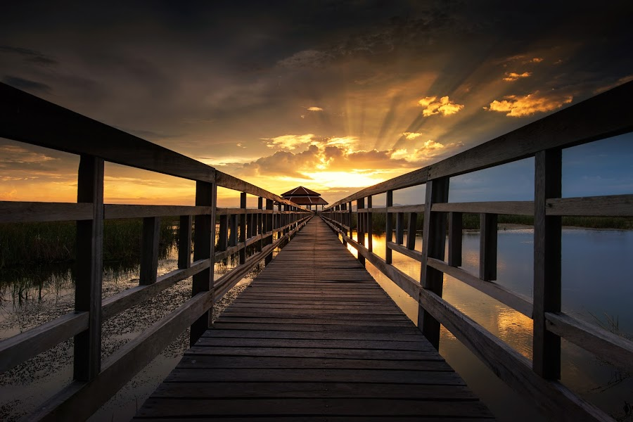 Front Light  by Pick Chon - Buildings & Architecture Bridges & Suspended Structures ( sky, wood, sunset, bridge, light,  )