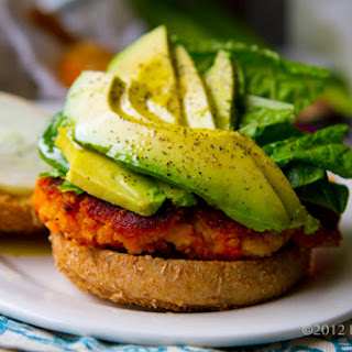 Easy Sweet Potato Veggie Burgers with Avocado.