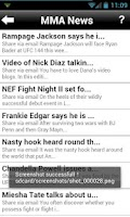 Screenshot of Mixed Martial Arts News