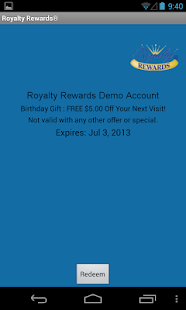 Royalty Rewards Member App- screenshot thumbnail