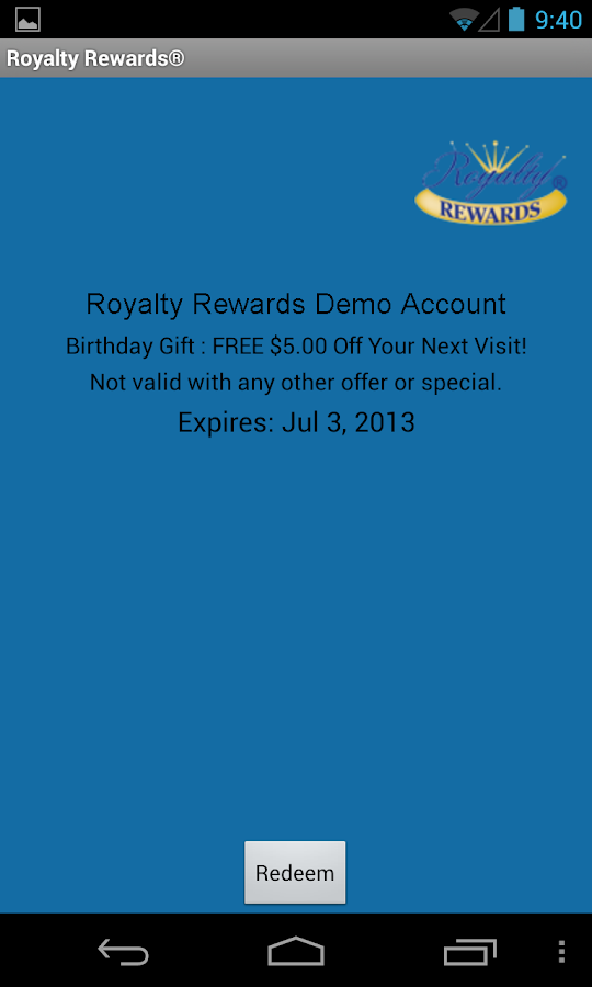 Royalty Rewards Member App- screenshot