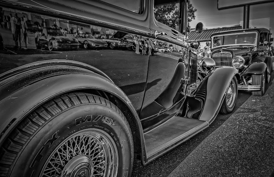 Black Sedans by Ron Meyers - Black & White Objects & Still Life