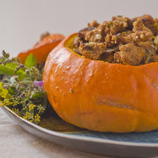 Neo-Classical Thanksgiving Dressing with Apricots and Prunes, Stuffed in a Whole Pumpkin