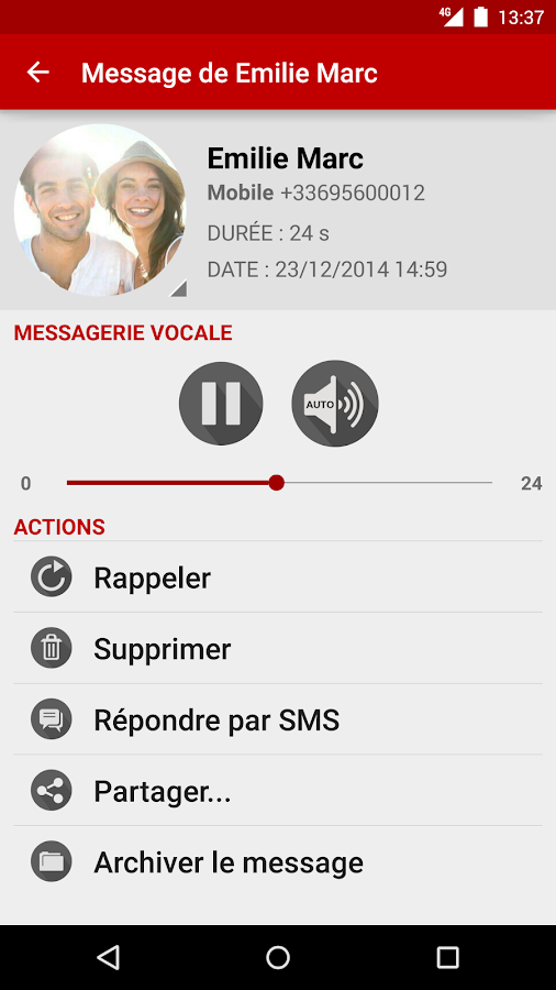 Messagerie Vocale Free - screenshot