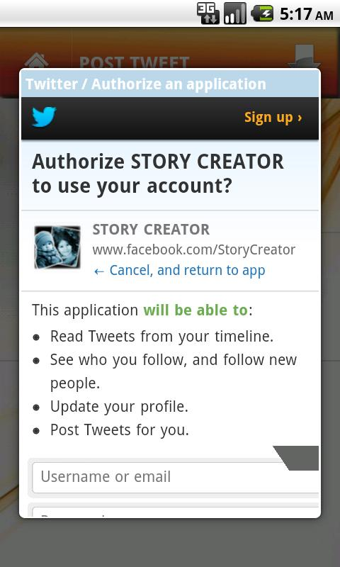 STORY CREATOR - screenshot