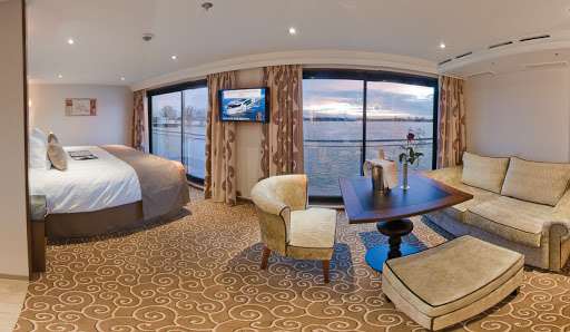 A suite in Tauck's Inspiration Class river cruise ships Inspire and Savor. The ships feature 22 300-square-foot-suites, the largest number of roomy suites of any riverboat on any European river.