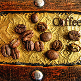 Coffee beans art by Daliana Pacuraru - Artistic Objects Other Objects ( pwc, wood, beans, pwccoffee, art, coffee, brown, gold, pwc86,  )