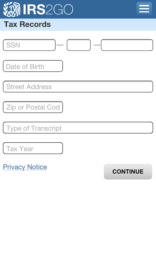 IRS2Go - screenshot