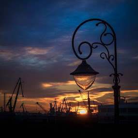 The last light over the harbour by Adrian Ioan Ciulea - Buildings & Architecture Other Exteriors ( street light, harbor, cranes, sunset, street lamp, light, sun, , city at night, street at night, park at night, nightlife, night life, nighttime in the city )
