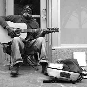 Street Musician by Paul Hopkins - Black & White Street & Candid ( , Travel, People, Lifestyle, Culture )