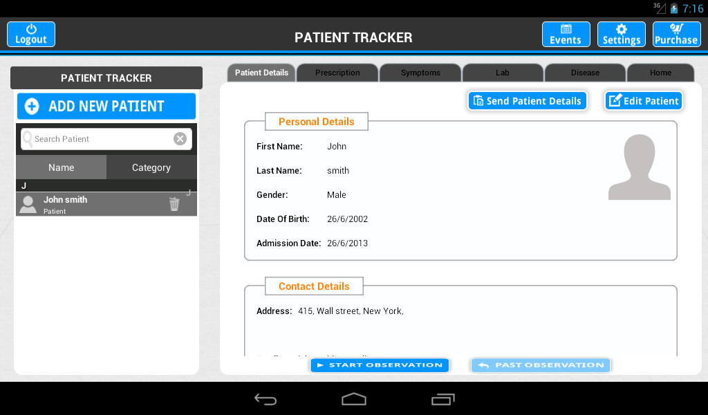 Patient Tracker- screenshot