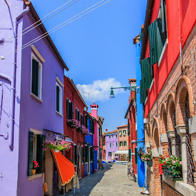 Hard colored street by Sebastièn Petri - City,  Street & Park  Neighborhoods ( color, colorful, colors, street, burano )