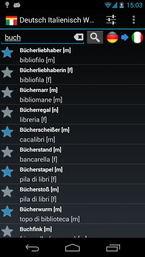 Offline German Italian Dict. - screenshot