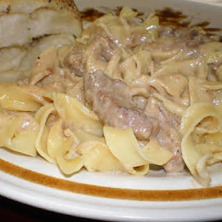 Slow Cooker Beef Stroganoff with Buttered Egg Noodles.