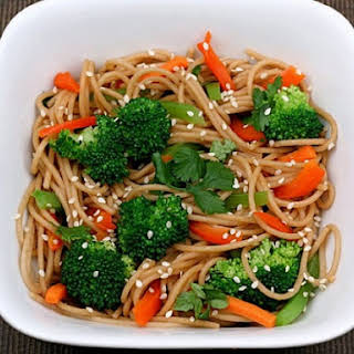 Whole Wheat Noodles with Peanut Sauce and Vegetables.