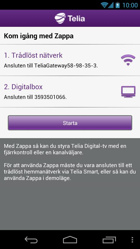Telia Digital-tv, Zappa - screenshot