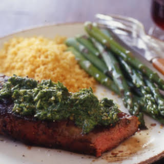 Chimichurri Steak, Chicken or Pork Chops with Asparagus and Tomato Couscous.