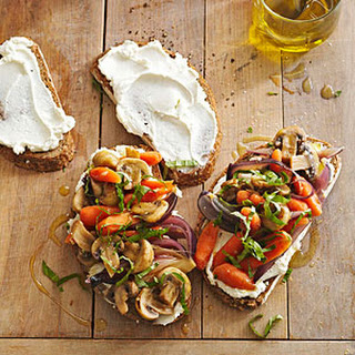 Skillet Vegetables on Cheese Toast