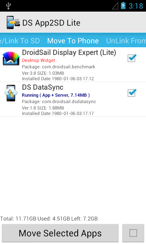 DS Super App2SD Lite - screenshot