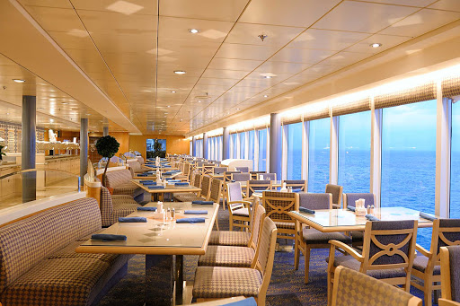 MSC-Sinfonia-La-Terrazza-Buffet - MSC Sinfonia's La Terrazza buffet restaurant offers a casual ambience and floor-to-ceiling windows that bring the Mediterranean seascape in.