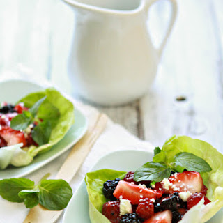 Balsamic Berry Salad Lettuce Cups.
